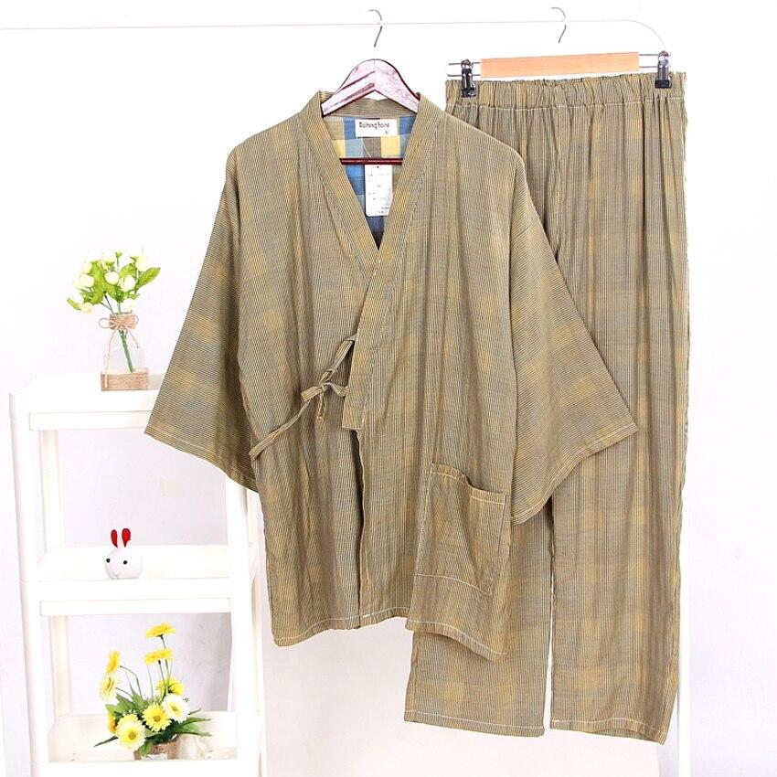 Men Japanese Kimono Sleepwear V-neck Sauna Bath Home Wear Loose Style Cotton Yukata Pajamas Set Comfortable Soft Nightgown