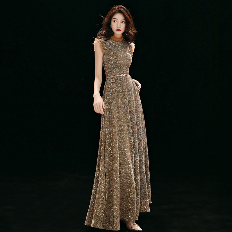 2019 Top Fashion Golden High-end Banquet Evening Dress Female Host 2020 Annual Meeting Of The New Elegant Long Temperament