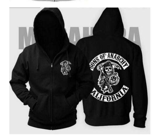 Sons Of Anarchy Hoodie TV SOA Cosplay Costume Men Zipper Jacket Leather Vest Rock Punk Cap Mayans MC Wear