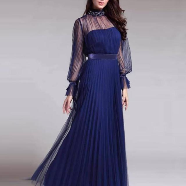Spring and summer new blue temperament  dress female banquet annual meeting atmosphere long style dress 6
