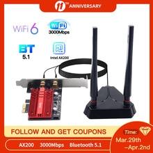Fenvi Wifi 6E 3000Mbps Intel AX210 Bluetooth 5.2 PCIe Adapter 802.11ax AX200NGW Network Wifi Wlan Card Wireless Adapter Desktop