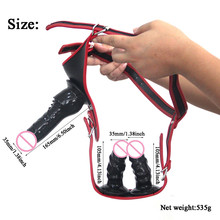 Strap on Dildo Triple Dong Elastic Harness Belt Panties Silicone Realistic