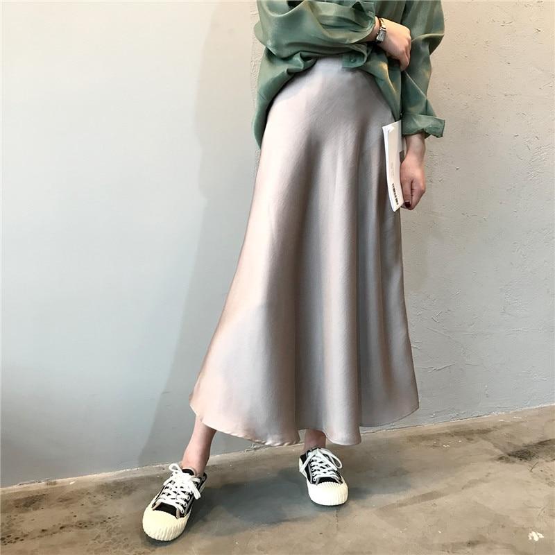 Women Silk Satin Skirt Spring And Autumn New High Waist Retro Ankle-length Skirt Chic Style A-Line Elegant Skirts Elegant Ladies
