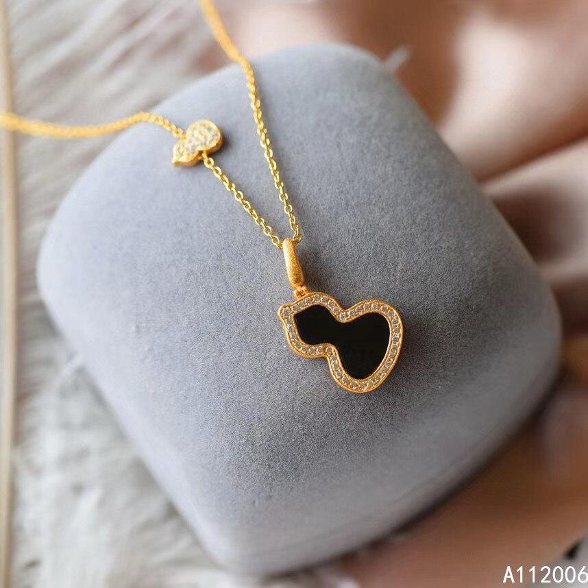 KJJEAXCMY bijoux fins 925 argent incrusté naturel Jade foncé pierres précieuses collier de luxe dames gourde pendentif support vérifier