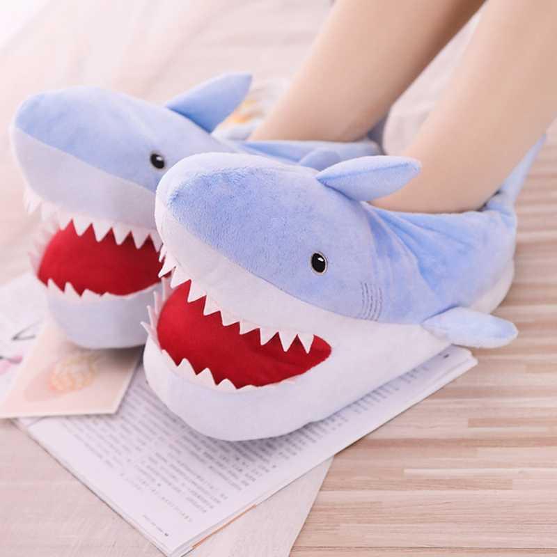 Ağız Açık Köpekbalığı Peluş Terlik Dolması Karikatür Sucul Hayvanlar topuklu ayakkabılar Anti-kayma Kapalı Yer Kadın Erkek Çift Hediye