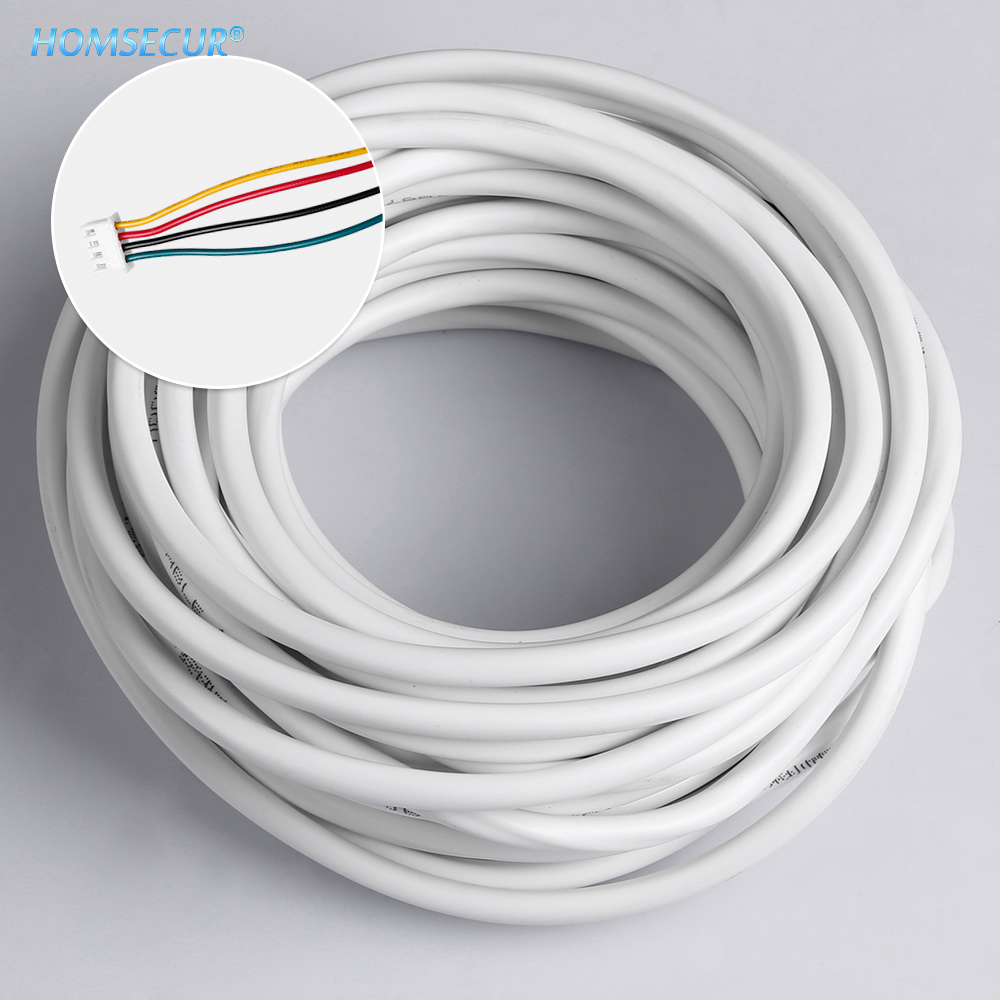 HOMSECUR 10M 15M 20M 25M RVV4*0.30 4 Wire Copper Cable For Video Intercom Color Door Phone Doorbell Wired Intercom System