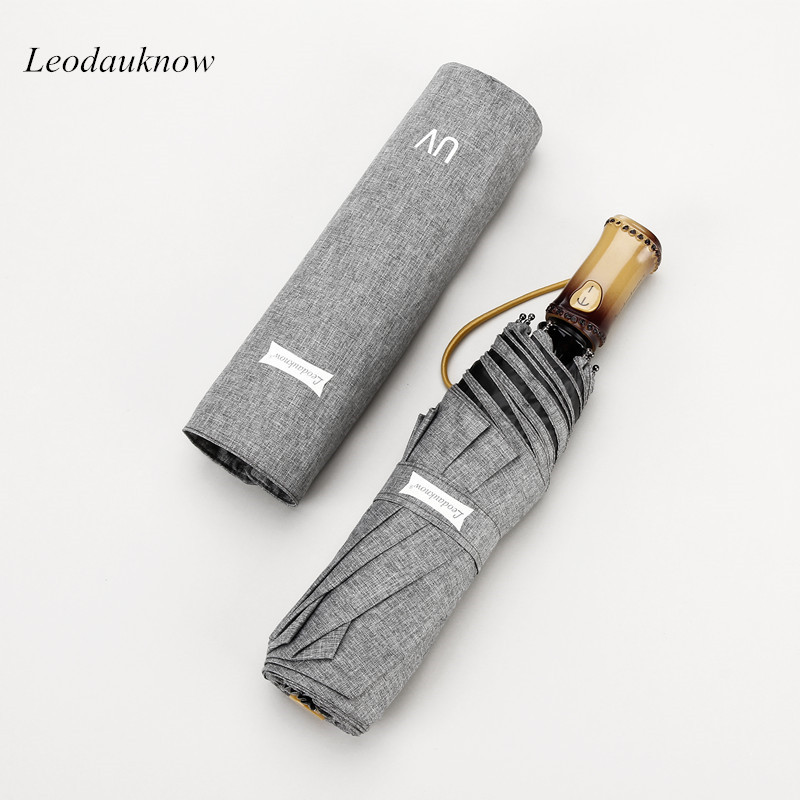 Leodauknow Fully automatic high quality three folding bamboo handle sun protection and uv protection women's travel umbrella.