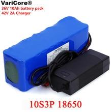 VariCore batería de litio de 36V, 10000mAh, 500W, alta potencia, 42V, 18650, para motocicleta, coche eléctrico, patinete de bicicleta con cargador BMS + 2A