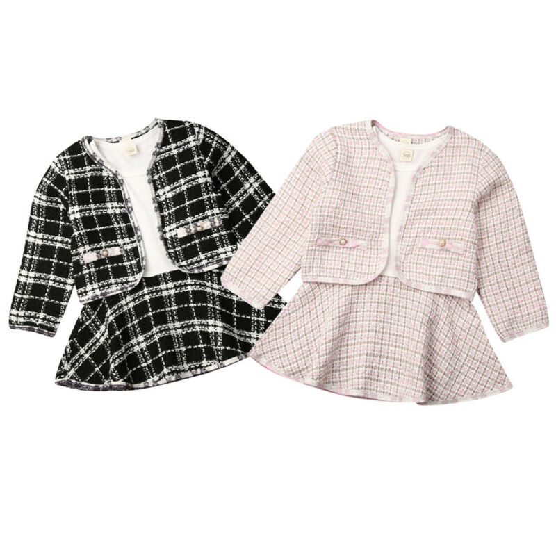 PUDCOCO Outfit Dress Long-Sleeves Plaid Girls Kid Gift Coat Foramal title=
