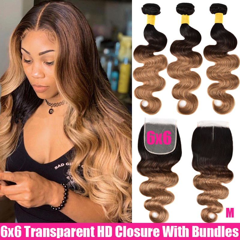 Ombre Body Wave Human Hair 3/4 Bundles With Closure Brazilian Hair Weave Bundles With Transparent HD 6X6 Closure And Bundles