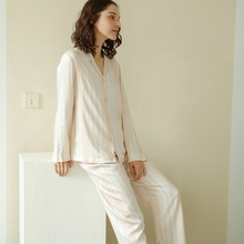 Autumn Long-sleeved Pajamas Set for Women Fresh Cardigan Wom