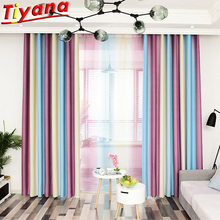 Rainbow Semi-Blackout Curtain Cloth for Bedroom Balcony Purple/Blue Striped Stitching Window Drapes for Living Room WH118#30