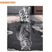 CHENISTORY Bezramowe Odbicie Kot Zwierzęta DIY Malowanie Numerami Nowoczesne Wall Art Canvas Malarstwo Unikalny Prezent Dla Home Decor