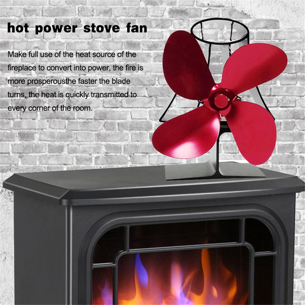 Stove Fan Fireplace Thermometer 4 Blade Heat Powered Fireplace Fan Quiet Operation For Wooden/Log Burner/Fireplace