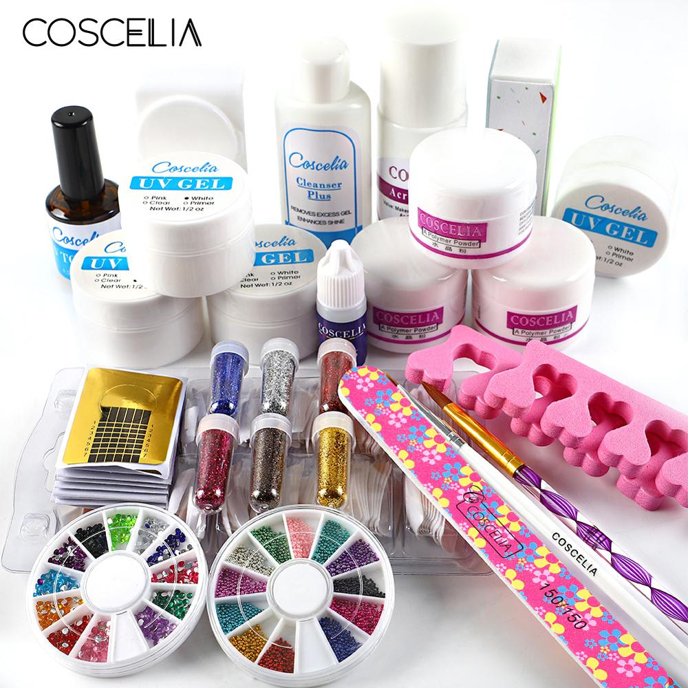 COSCELIA Acrylic Nail Kit Manicure Nail Art Decorations Brush For Manicure Tool Nail Extension Kits Gel Set&Kit