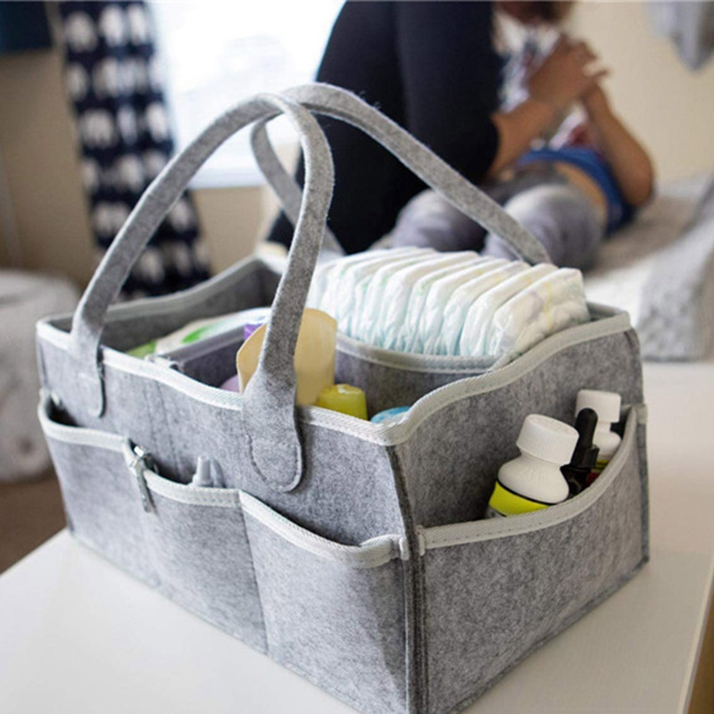 Portable Holder Bag For Changing Table Nursery Essentials Storage Bins Baby Felt Diaper Organizer