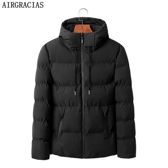 AIRGRACIAS חדש לגמרי חורף מעיל גברים לעבות חם מעיילים מקרית להאריך ימים יותר סלעית parka מעילי מעילי גברים בגדים