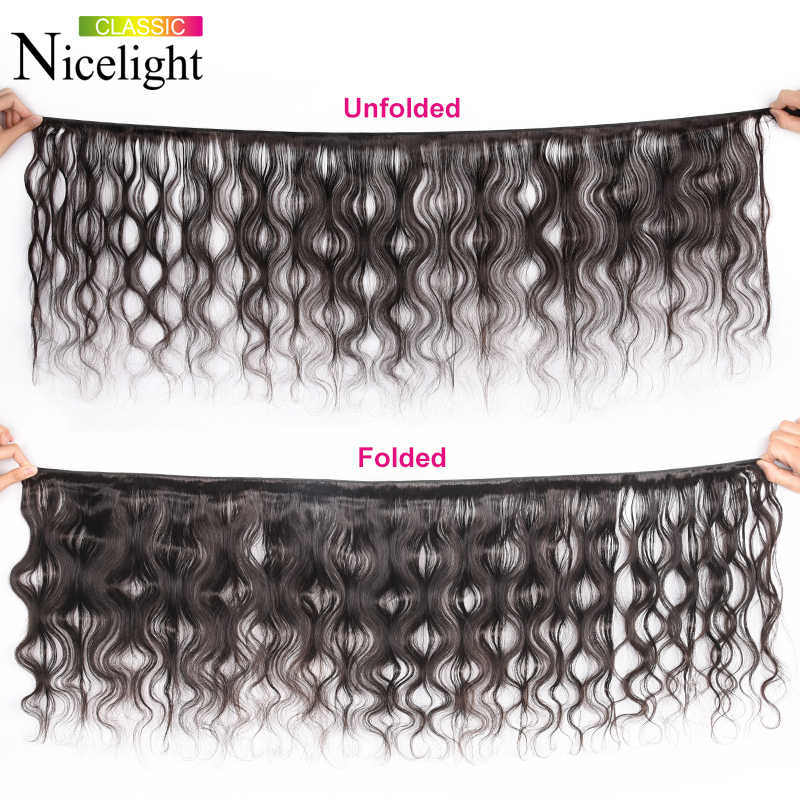 Nicelight Body Wave With Frontal Remy Human Hair Bundles Malaysian Hair 3 Bundles With Frontal Bundles With Closure 13X4 Lace