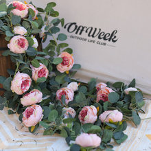 PARTY JOY Fake Peony Rose Vines Artificial Flowers Garland Vintage Eucalyptus Hanging Plant for Wedding Arch Door Party Decor