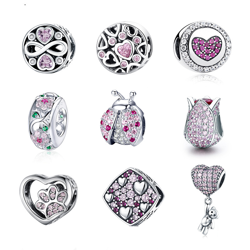 WOSTU Authentic 100% 925 Sterling Silver Pink Zircon Crystal Beads Charm Fit Original Bracelet Pendant Silver 925 Jewelry Making(China)