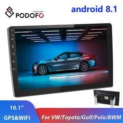 Podofo 2din Auto radio 10,1 zoll Android system Auto stereo 2.5D Kapazitiven Bildschirm Bluetooth WIFI GPS Quad Core Für universal