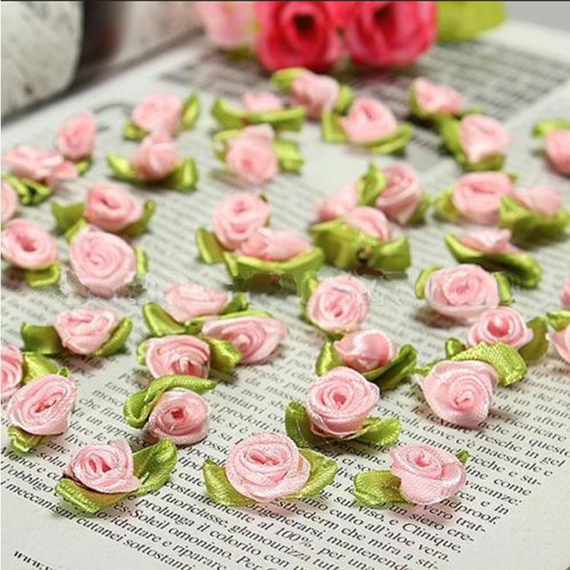 100 Offary DIY Ribbon Rose Satin Ribbon Rose  Wedding Flower Decor Bowknot Hairband Jewelry Applique Craft