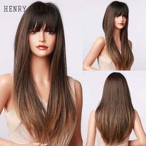 HENRY MARGU Long Straight Ombre Black Brown Mixed Blonde Wigs with Bangs for Women Afro Daily High Temperature Synthetic Wig