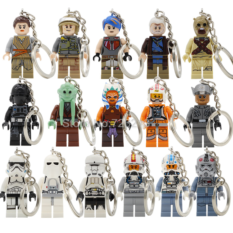 Space Wars Tusken Raider Figure Keychain Captain Jag Rey Kit Fisto Lor San Tekka Sabine Turbo Tank Building Blocks Toys Legoing