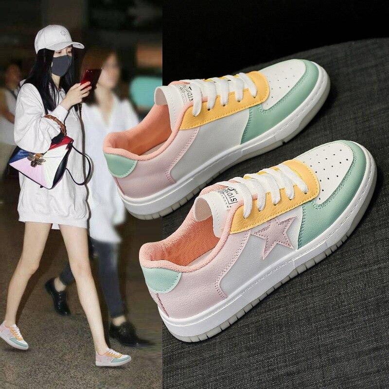 Маленькие белые туфли, новые универсальные туфли на плоской подошве, женская повседневная спортивная обувь