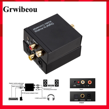 Grwibeou 3.5mm USB DAC Digital To Analog Analogue Stereo Audio Converter Adapter Coaxial Optical Toslink RCA R/L Optical To RCA