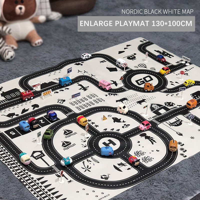 Learning Juguetes Brinquedos Pretend Play Cute Pull Back Car Parking Lot Traffic Map Game Pad Baby Playmat Toys For Kids Boys