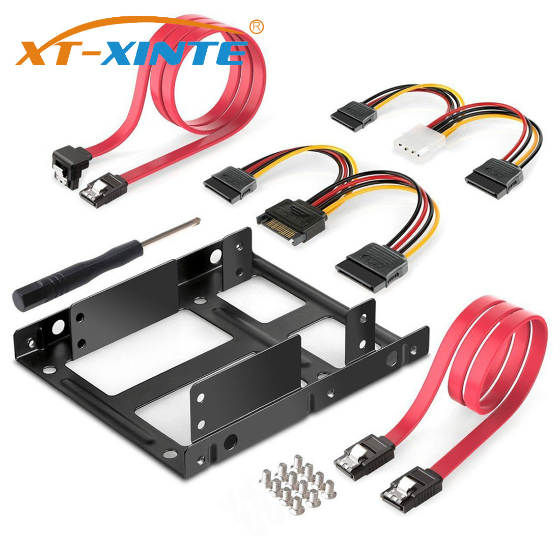 XT-XITEN 2-Bay 2.5 Inch To 3.5 Inch External HDD SSD Metal Mounting Kit Adapter Bracket With SATA Data Power Cables & Screws