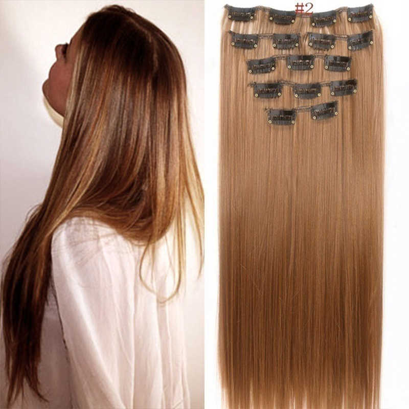 """16Pcs BB clip/Set 22"""" Hairpiece 140G Straight 16 Clips In False Styling Hair Synthetic Clip In Hair Extensions Heat Resistant"""