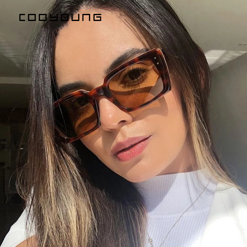 COOYOUNG Fashion Rectangle Women Sunglasses Trendy Shades For Ladies Square Sun Glasses Female UV400 2021 New Style