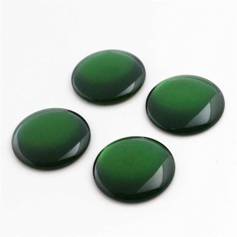 New Fashion 10pcs 25mm  Dark Green Color  Flat Back Resin Cabochons Cameo  G4-05