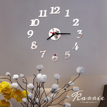 One Set DIY Creative Digital Acrylic Wall Clock Frameless Mirror Stickers Modern Art Decal Home Decor Modern Decor 40cm cheap MIQIAO CN(Origin) Europe GEOMETRIC Gold Plated Single Face 400mm 1 mm Sheet abstract Loudspeaker Mute living room Multi-piece set