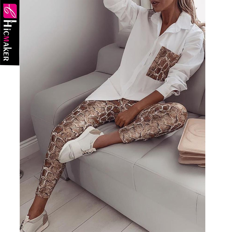 Women Two Piece Matching Sets Snake Contrast Pocket Top Blouse & Pants Chic Spring Fall Casual Suit