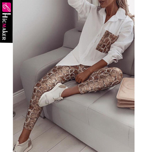 Women Two Piece Matching Sets Snake Contrast Pocket Top Blou