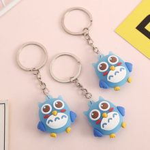 5pcs Cartoon Anime Cute Owl Keychain Silicone Key Chain Ladies Men Mobile Phone Bag Decoration Gift