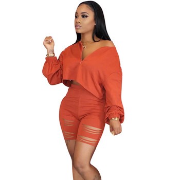 2020 Casual Two Piece Set Summer Clothes for Women Tracksuit Crop Top Hole Shorts Sweat Suits Lounge Wear Matching Set Outfits heyoungirl casual patchowrk two pieces tracksuit women summer crop top and sweat shorts outfits ladies letter print matching set