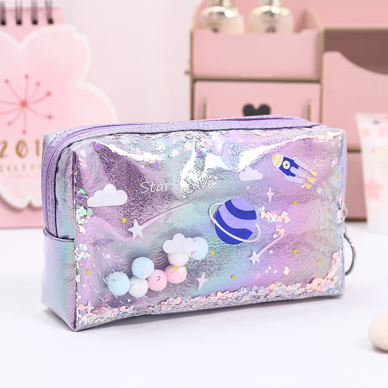Kawaii Large Planet Pencil Case Laser Leather Sequin Pen Box Makeup Cosmetic Bag For Girls Gift Office School Travel Supplies