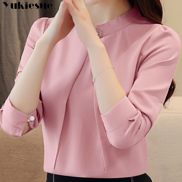 fashion woman blouses 2020 long sleeve chiffon blouse shirt long sleeve women shirts womens tops and blouses blusas femininas 4
