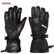 Лыжные перчатки из натуральной кожи с сенсорным экраном теплые