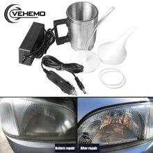 Nettoyeur de phares de voiture en acier inoxydable, tasse de pulvérisation reconditionné, tasse de polissage chauffante de voiture, Kits doutils de réparation de véhicules, prise ue