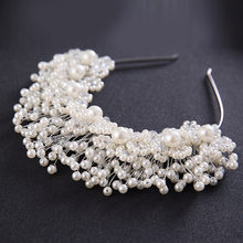 Forseven luxo ouro/prata cor hairband mulheres imitação pérolas hairband tiara artesanal imitação pérolas bandana coroa jl