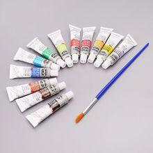 12 цветов тубы 6 мл краски туба Рисование краски ing акварельный пигмент набор с принадлежности художественные Кисти