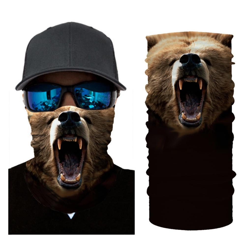 2020 New 3D Seamless Headscarf, Hiking Halloween Cosplay Animal Element Headband Neck Light Yellow Hunting Winter Ski Warm Hat