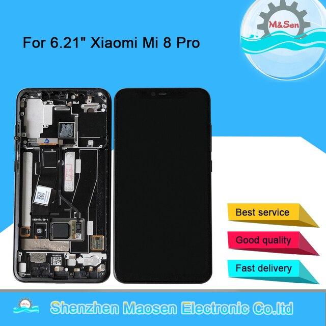 Original M&Sen LCDFrame For Xiaomi Mi8 Pro Mi 8 Pro In Screen Fingerprint AMOLED LCD Display Screen Frame+Touch Screen Digiziter