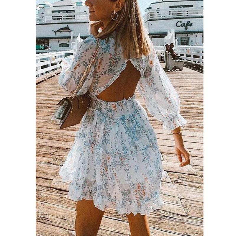 BOHO INSPIRED Harlow Floral Print Ruffle Dress women backless V neck dress women mini plus size dress ladies 2021 party dress
