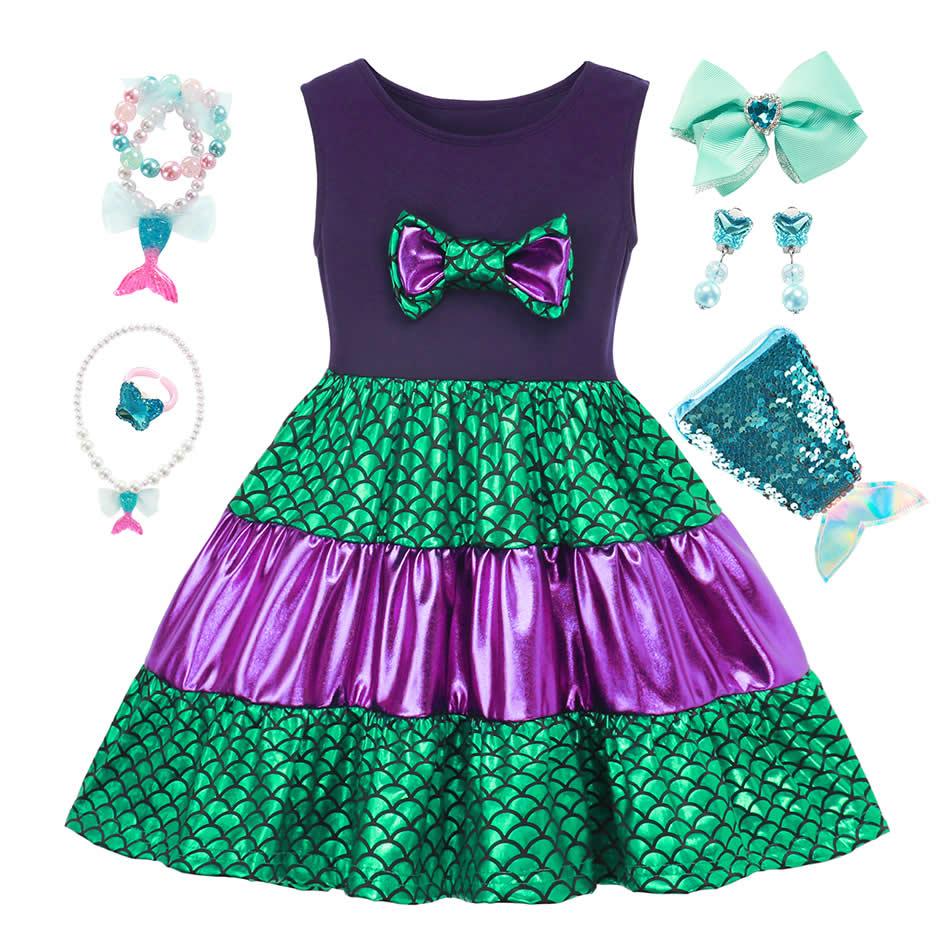 Disney Halloween Party Princess Merida Ariel Dress For Girls Sleeveless Patchwork Sundress Snow White Minnie Gown Fancy Costume